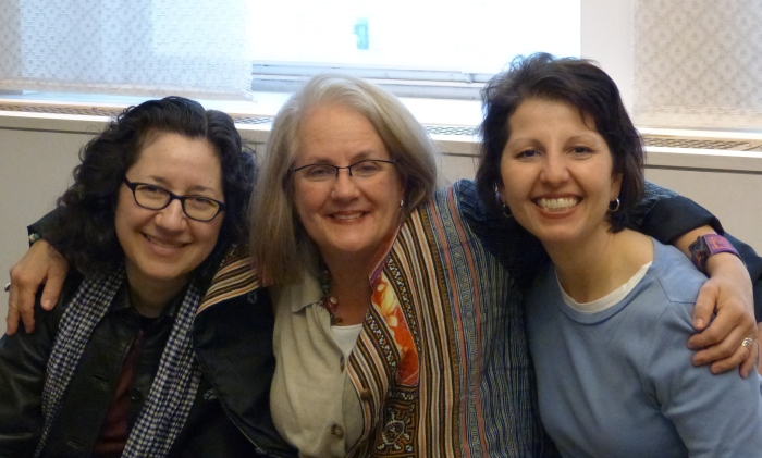 """Kathy posed with wedding witnesses """"Lame Adventures"""" (R) and Jackie Cangro (L)."""