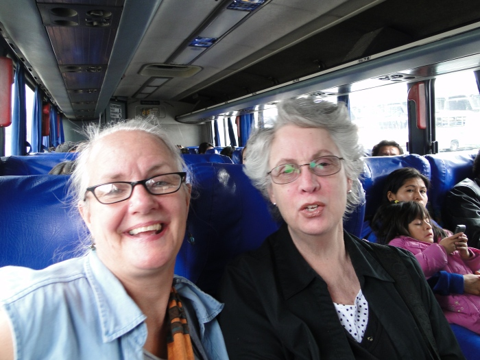 Kathy with Judith Erminger on a bus trip to Chordeleg.