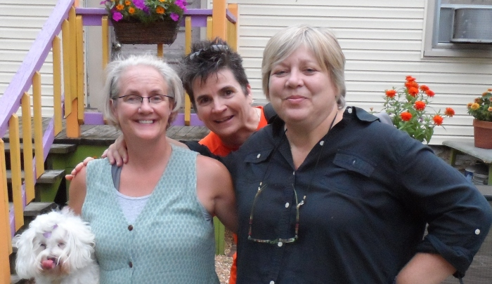 Kathy (L) and Sara (R) with blogger Colleen Brown in our Lexington back yard, Summer 2012--