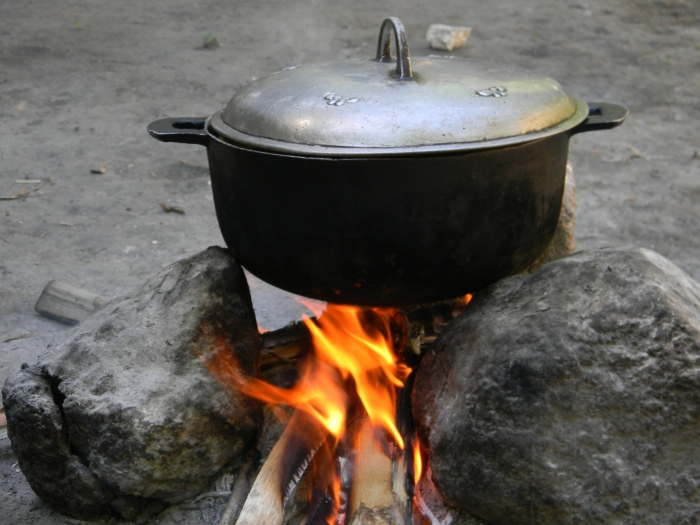 Haitians traditionally use 3 stones to support a pot over an open fire.