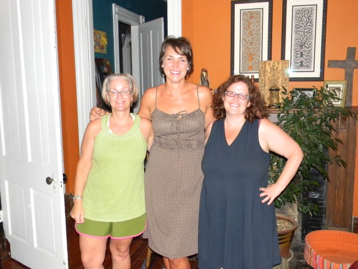 Kathy (L) with bloggers Tori Nelson (center) and Lisa Kramer (R) in our Lexington library, Summer 2012--