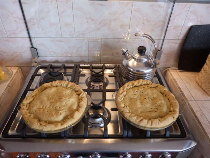 Apple pies in our Cuenca kitchen--