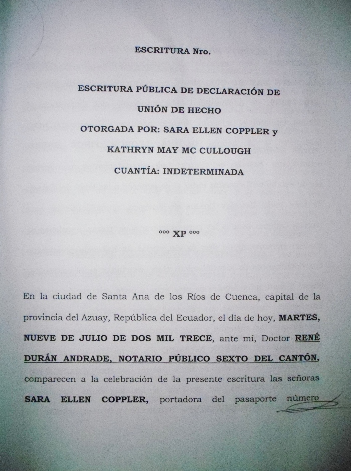 Ecuadorian civil union contract--