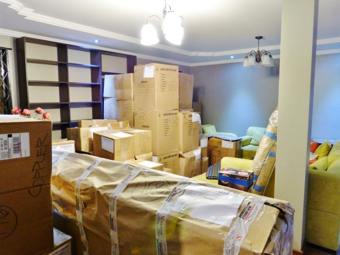 Boxes piled in the living room--(Sara's image)