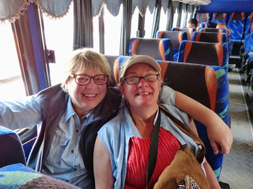 Sara and Kathy aboard the bus to Girón--