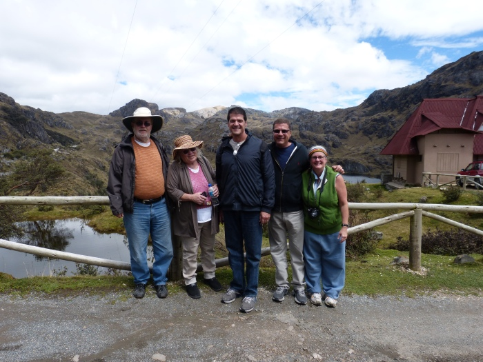 At the entrance to Cajas National Park, (L-R) Fred, Susan, Juan, David, and Kathy--(Sara's image)