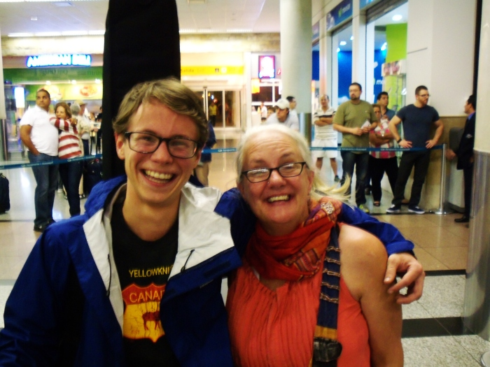 Johnny and Aunt Kathy at the Guayaquil airport!