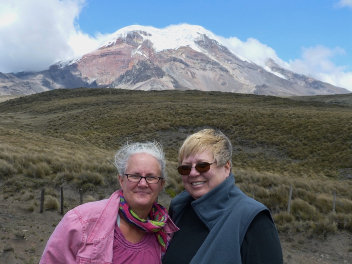 Kathy and Sara at the foot of Chimborazo, the highest peak in Ecuador, at around 20,500 feet--