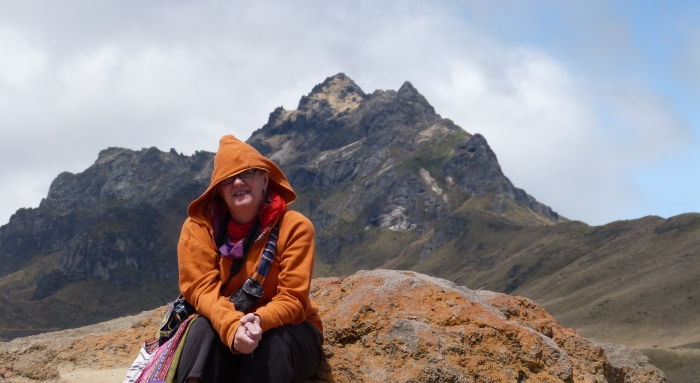 Kathy atop the volcano--