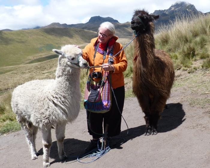 Kathy with llamas--