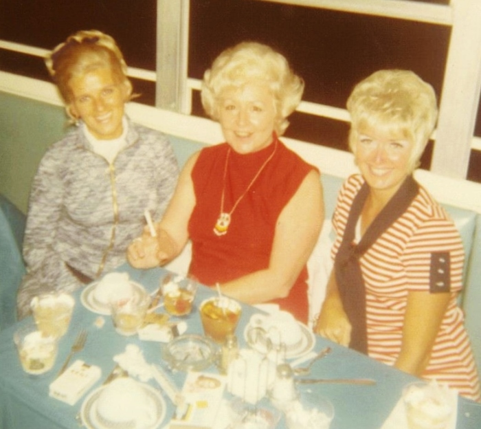 """My mother (R) with Dee """"I"""" (L) during the summer of 1970--"""