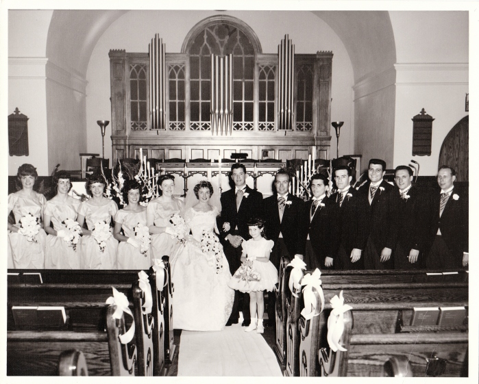 """Bobby I,"" the bookie boss (4th from the right) who figures in this post, was in my parents' wedding party. At that time, however, my mother knew nothing about my father's organized crime connections or the role Bobby would play in our family's future."