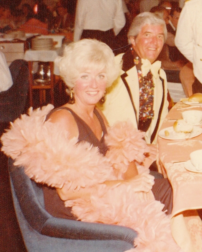 My parents during the later '70s--my mother in her famous feather boa.