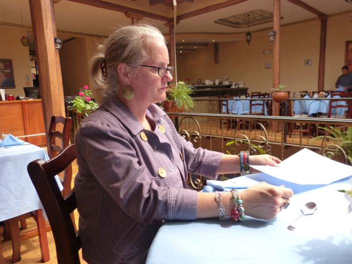 Writing in a Cuenca, Ecuador restaurant--