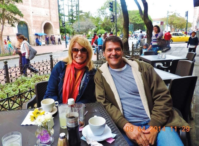Lynn with our buddy Juan at Don Colon's in Cuenca--