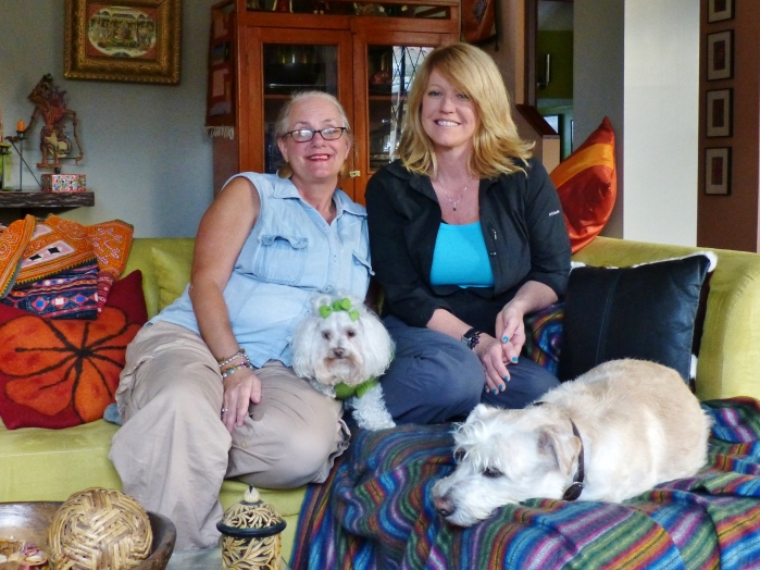 Lynn and Kathy during a planned July visit (and Lucy and ralph)--