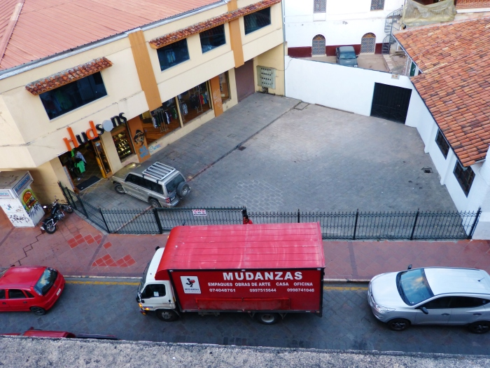 In the heart of the city center you can only move early in the morning or after 7pm.  Photo of our truck taken from our terrace--