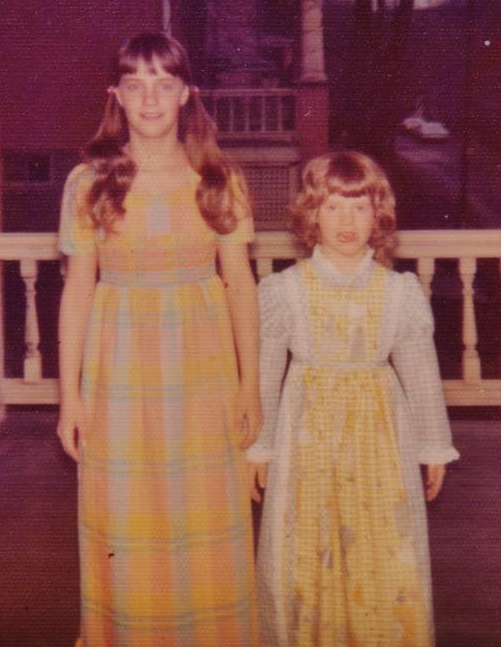 Kathy and Lynn when they were kids, when Kathy was tall and Lynn was small.